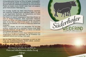 Aufgeklappter Flyer von dem Süderhofer Weiderind mit Text auf der Rückseite und einem Logo auf der Vorderseite