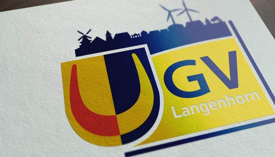 Mockup von dem GVL Gemeindeverein Langenhorn Logo auf weißem Papier
