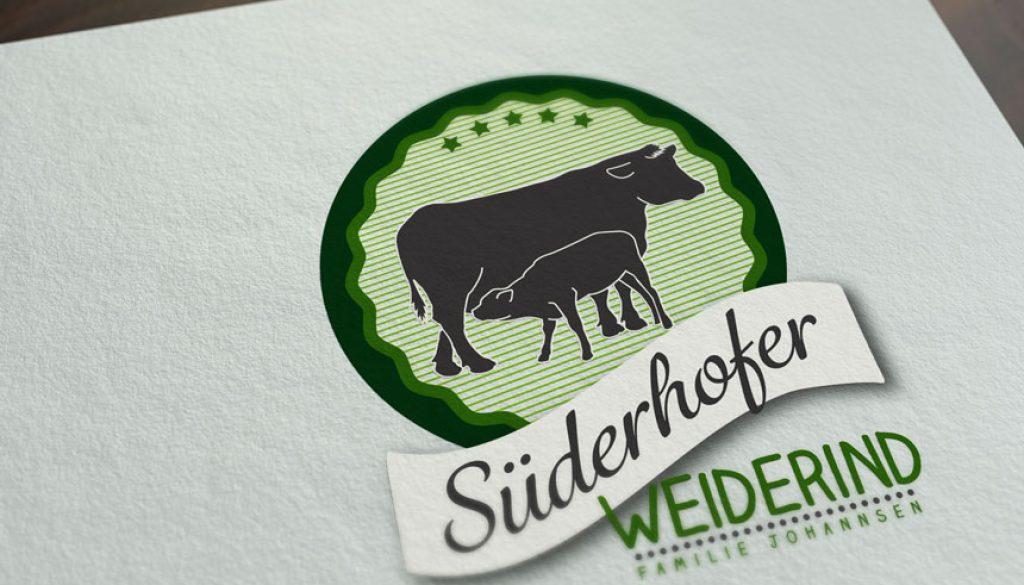 Mockup von dem Süderhofer Weiderind Logo auf Papier