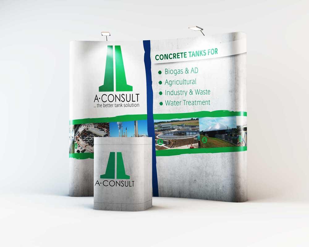 Ein Mockup einer passenden Messewand für die A-Consult GmbH