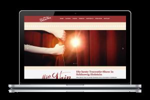 Website von der Miss Gloria Vain Website als Startseite auf einem Laptop