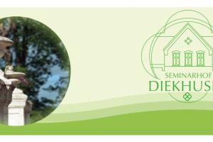 Sliderbild von der Seminarhof Diekhusen mit Logo auf der rechten Seite und einem Bild auf der linken Seite