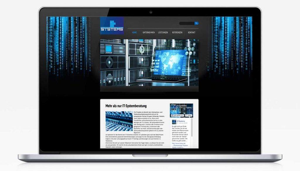 Mockup von der JT-Systems Website als Startseite