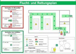 Auch Grundlage eines Lageplans zeichnen wir Flucht- und Rettungspläne nach ISO 23601:2009 für Biogasanlagen, in denen der Verlauf der Flucht- und Rettungswege, die Lage der Notausgänge sowie Feuerlöscher, Brandmelder, Erste-Hilfe-Einrichtungen usw. festgelegt sind.