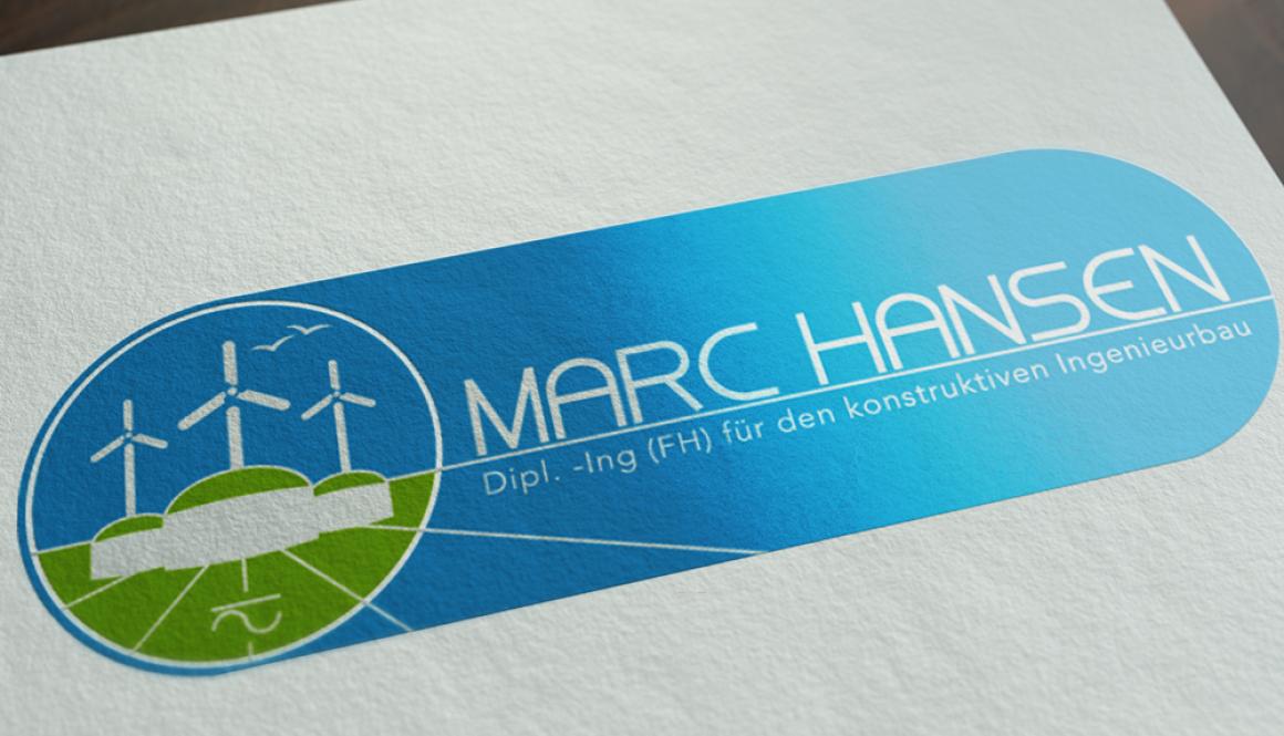 Mockup von dem Marc Hansen Dipl. -Ing (FH) für den konstruktiken Ingenieurbau Logo auf weißem Papier