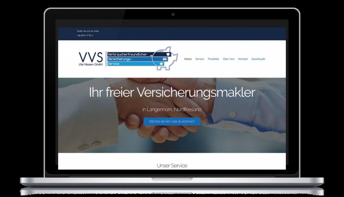Mockup eines Laptops mit der VVS Website