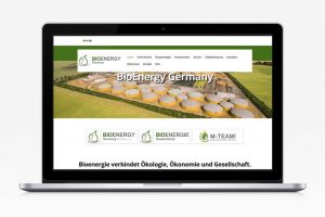 Mockup eines Laptops mit der BioEnergy Germany Website