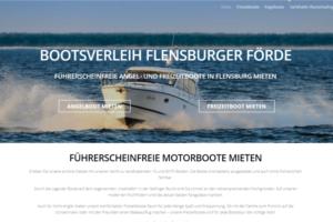 Ein Screenshot der Startseite von dem Bootsverleih Flensburger Förde