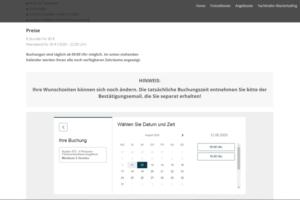 Ein Screenshot von dem Buchungssystem des Bootsverleih Flensburger Förde