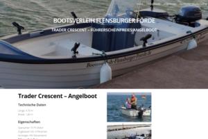 Screenshot einer Seite von dem Bootsverleih Flensburger Förde